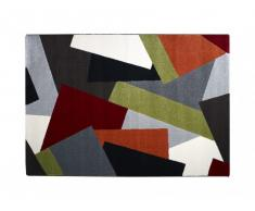 Tapis style design PABLO - polypropylène - 140*200 cm - rouge, orange, gris