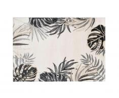 Tapis style ethnique FEUILLA - 160 x 230 cm - beige, kaki et lurex doré