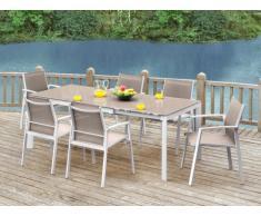 Salle à manger de jardin PALAOS en aluminium - Table extensible 140/200cm + 6 fauteuils - Taupe