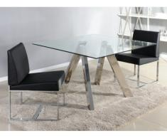 Table à manger DARLENE - 4 couverts - Verre trempé et acier