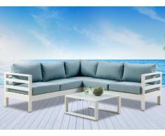 Salon de jardin SULAWESI en aluminium blanc et coussins bleu ciel: un canapé 5 places et une table basse
