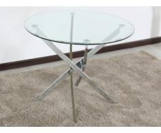 Table à manger LORIANE - 4 couverts - Verre trempé et acier