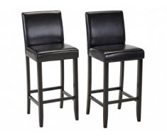 Lot de 2 tabourets de bar ROVIGO - Simili chocolat brillant