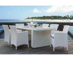 Salle à manger de jardin KUOPIO en résine tressée blanche : table, 6 fauteuils