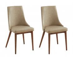 Lot de 2 chaises MENDAS - Simili et bois de Frêne - Beige