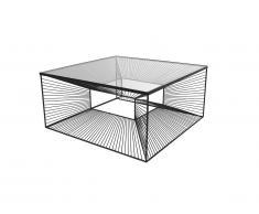 Table basse CLARENCE - Verre et Métal filaire - Noir