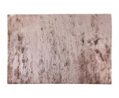 Tapis shaggy ultra doux DOLCE taupe reflet beige - Grammage : 2420 g/m² - 120*170 cm