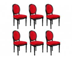 Lot de 6 chaises LOUIS XVI - Velours rouge