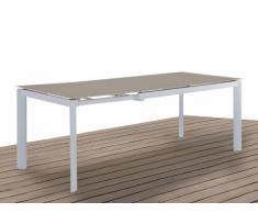 Table à manger de jardin en aluminium - extensible 4 à 6 couverts - L140/200cm - PALAOS - Taupe