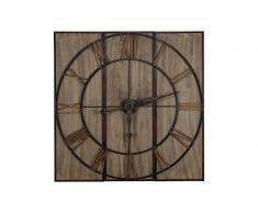 Grande horloge murale style industriel CHARLIE - Bois et métal - D.113 cm