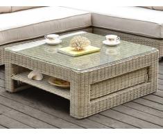 Table basse de jardin KUOPIO en résine tressée beige