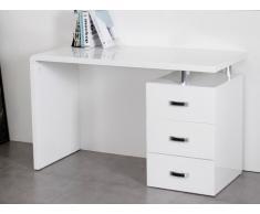 Bureau STANISLAS avec rangements - 3 tiroirs - MDF & métal - Blanc laqué