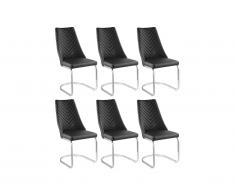 Lot de 6 chaises ALFEO - Simili et Métal - Noir