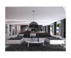 Canapé panoramique 7 places en simili SICILE - Bicolore blanc et noir avec coussins anthracites