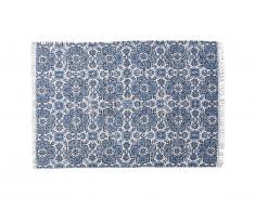 Tapis tissé main en jute et coton HORTENSIA - 160 x 230 cm - Bleu
