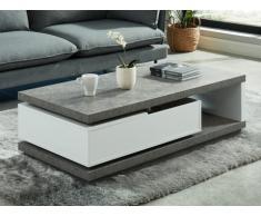 Table basse FLAVIAN - avec coffre de rangement pivotant - MDF laqué blanc avec plateau effet béton