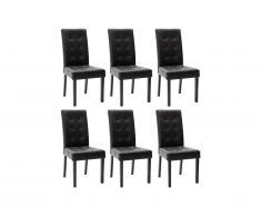 Lot de 6 chaises VILLOSA - Simili noir & pieds bois noir