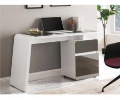 Bureau avec rangement ALENKA - MDF & Verre trempé - Blanc & Gris