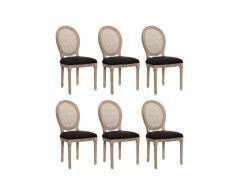 Lot de 6 chaises MARIE-ANTOINETTE en cannage - Tissu & Bois d'Hévéa - Noir