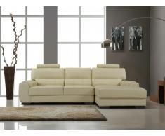 Canapé d'angle en cuir METROPOLITAN II - Blanc ivoire - Angle droit
