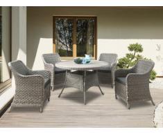 SOLDES - Salle à manger de jardin ANTUNES en résine tressée beige : une table et 4 fauteuils