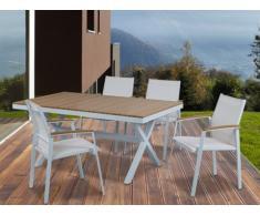 Salle à manger de jardin PADANG - Table, 4 chaises - Blanc et coloris bois