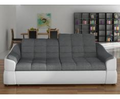 Canapé 3 places en tissu et simili FAREZ - Bicolore gris et blanc