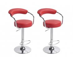 Lot de 2 tabourets de bar CANASTA - Rouge