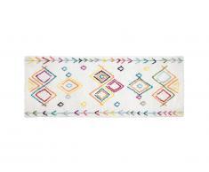 Tapis de couloir style berbère ANGKOR - 80 x 200 cm - Beige et motifs multicolores