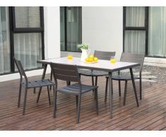 Salle à manger de jardin SAIPAN en aluminium et plateau céramique - une table et 4 chaises empilables