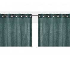 Lot de 2 rideaux à oeillets FIGUIERA - 100% lin - 140x260cm - Vert foncé