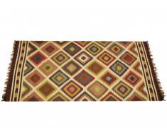 Tapis kilim tissé main en laine et jute CARNAVAL - 200x290cm - Multicolore
