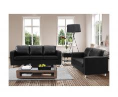 Canapé 3+2 places en simili ACKLEY - Noir
