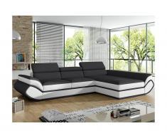 Canapé d'angle convertible en simili ORLEANS - Gris et bandes blanches - Angle droit