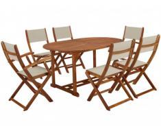 Salle à manger de jardin CEBU en acacia : une table extensible, 2 fauteuils et 4 chaises