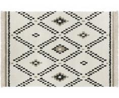Tapis style berbère à franges NOLA - 100% Polypropylène - 120x170cm - Ecru et noir