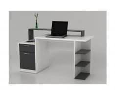 Bureau avec rangements ZACHARIE - Blanc et gris