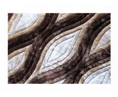 Tapis shaggy effet 3D MARLA - 100% Polyester - Marron et beige - 160 x 230 cm
