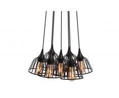 Suspension multi-lampes style industriel STYLIAN - Métal - D. 53 x H. 117 cm - Noir
