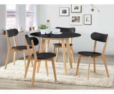 Table ronde COLETTE - 4 couverts - Hévéa massif et MDF - Noir