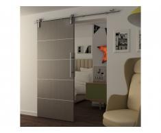 Porte coulissante en applique GAYAC - H205 x L83 cm - MDF gris