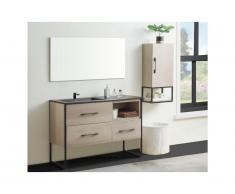 Ensemble salle de bain SELANE - meuble sous vasque + vasque + miroir + colonne - effet bois