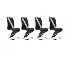 Lot de 4 chaises TWIZY - Simili noir & blanc