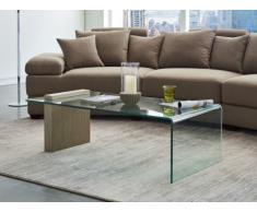 Table basse MANDY - Verre courbé & MDF effet grisé