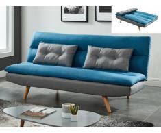 Canapé bicolore convertible clic-clac 3 places en tissu TRISTAN - Bleu/gris