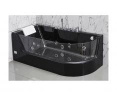 Baignoire balnéo vitrée ARIA noire - 1 place - 263L - 80*170*57cm