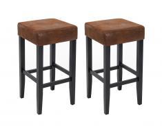 Lot de 2 tabourets de bar JONES - Tissu effet cuir vieilli et pieds bois - Marron