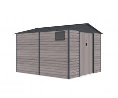 Abri de jardin en acier galvanisé effet bois ADELMO - gris - 8,94m²