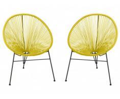Lot de 2 chaises de jardin ALIOS II en fils de résine tressés - Jaune