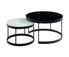 Tables basses gigognes BILLIE - Verre trempé & métal - Noir et Blanc